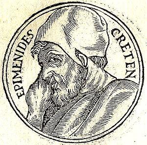 """Epimenides paradox - Epimenides from """"Promptuarii Iconum Insigniorum"""""""