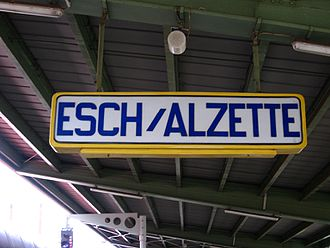 Esch-sur-Alzette - Sign at Esch-sur-Alzette railway station.