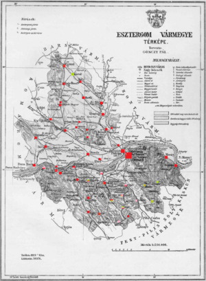 Esztergom County - Ethnic map of Esztergom county according to the data of the 1910 census. Key: red - Hungarians; pink - Germans; light green - Slovaks. Coloured dots in a plain rectangle imply the presence of smaller minority populations (generally more than 100 people or 10%). Multicoloured rectangles imply cities and villages with multi-ethnic populations with the order of the stripes following the ethnic composition of the settlement.