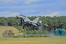 A No. 6 Squadron Eurofighter Typhoon FGR4 taking off from Leuchars in 2013.