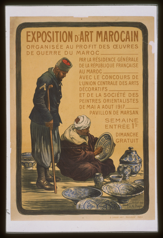 Moroccan Division (France) - A 1917 poster advertising an art exposition for the benefit of wounded Moroccan soldiers serving in the French Army.
