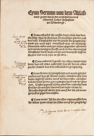 Sermon on Indulgences and Grace - Wittenberg printing of the Sermon