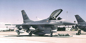Aviano Air Base - General Dynamics F-16A Block 15Q Fighting Falcon 83-1080 of the 308th FS, about 1988.