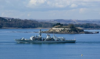 Drake's Island - HMS ''Portland'' passing Drake's Island