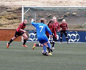 Havnar Bóltfelag (women) - HB Tórshavn vs FC Suðuroy in the women's Faroe Islands Cup. HB won the match 8–1. It was played on 22 April 2012.