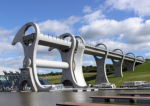 The Falkirk Wheel is a rotating boat lift that works using Archimedes' principle.