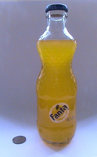 International availability of Fanta - A 200ml glass bottle of Fanta sold throughout China. Note US penny for scale.