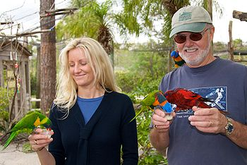 Feeding lorikeets at Lion Country Safari-23Dec2008.jpg