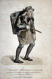 Ferdinand Raimund als Aschenmann in Der Bauer als Millionär (Lithographie von Kriehuber nach Moritz von Schwind) (Quelle: Wikimedia)