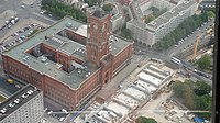 Fernsehturm views Rotes Rathaus and new U5 2015.jpg