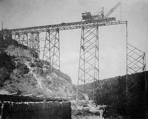 Northern Railroad of Guatemala - Bridge of Las Vacas construction in Guatemala City in 1907.