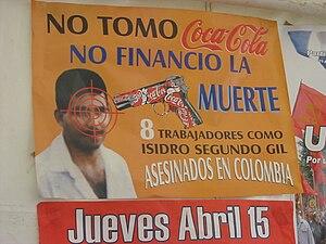 English: Poster against Coca-Cola for their ki...
