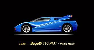 Bugatti EB 110 - A concept drawing of the EB 110