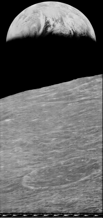 Lunar Orbiter 1 - Image: First View of Earth from Moon reprocessed