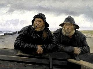 Two Fishermen beside a Boat