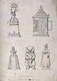 Five ornate German drinking vessels. Engraving by F. Fairhol Wellcome V0019354.jpg