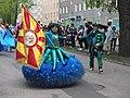 Flag bearer couple of Império do Papagaio at Kallio Kukkii 2019.jpg