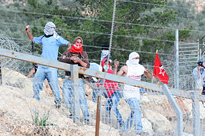 Palestinian stone-throwing - Stone-throwing at a riot in Bil'in.