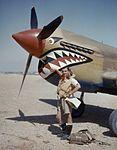 Flight Lieutenant A R Costello of No. 112 Squadron standing by his Curtiss Kittyhawk Mk I at Sidi Heneish, Egypt, April 1942. COL196.jpg