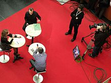 Overhead shot of a TV programme being recorded