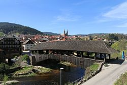 The covered wooden bridge of Forbach