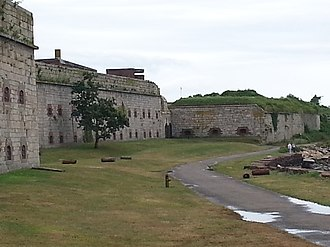 Fort Adams - 2016 view of the west front of Fort Adams. Note the Endicott-era fire control station.