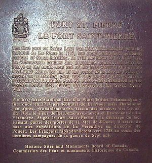 Fort Saint Pierre - Fort Saint Pierre plaque, Historic Sites and Monuments of Canada, Fort Frances, Ontario