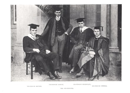 The four founding Professors of the University of Queensland, 1911. From left to right: Professor John Lundie Michie (classics), Professor Alexander James Gibson (engineering), Professor Henry James Priestley (mathematics and physics), Professor Bertram Dillon Steele (chemistry). Founding Professors of the University of Queensland.tiff