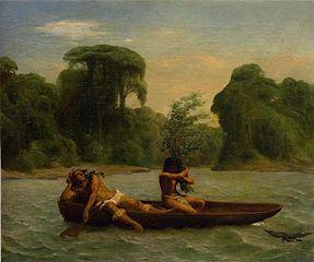 Deux Indiens dans un canoë