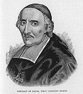 Sort og hvid illustration af en mand iført en zucchetto, liturgiske klæder og et brystkors mod venstre.
