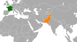Map indicating locations of France and Pakistan