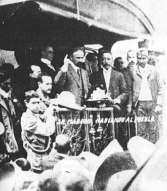 Francisco I. Madero - Francisco I. Madero campaigns from the back of a railway car in 1910.