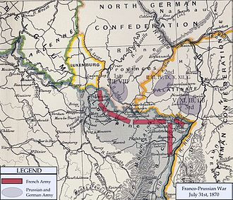 Franco-Prussian War - Map of German and French armies near their common border on 31 July 1870