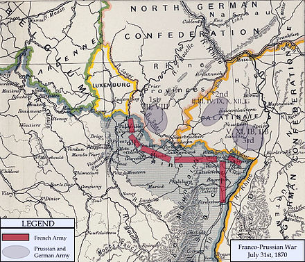 Map of the German and French armies near the common border on 31 July 1870 FrancoPrussianWarFrontierJuly1870.jpg