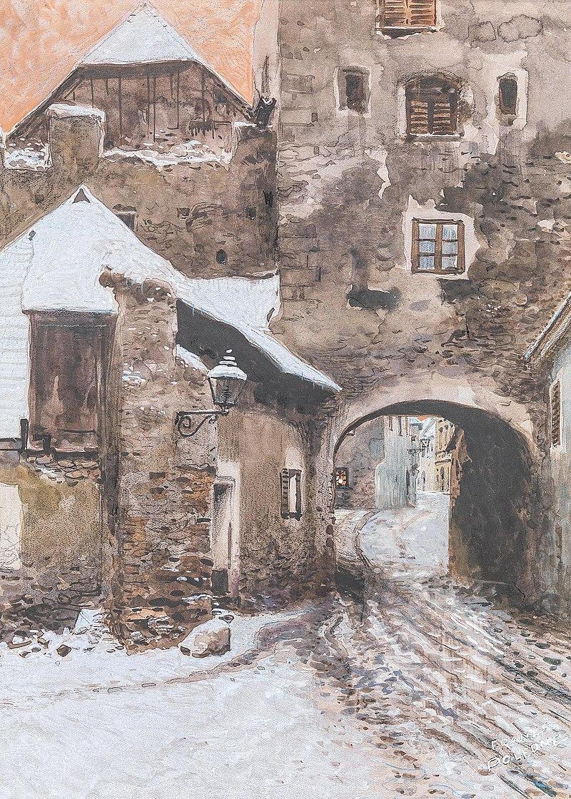 Franz Poledne Kremser Tor in Dьrnstein im Winter.jpg