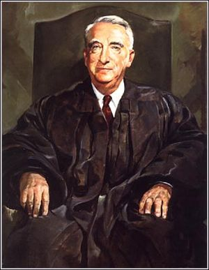 "Clear and present danger - Chief Justice Fred M. Vinson reaffirmed the applicability of the doctrine of ""clear and present danger"" in upholding the 1950 conviction of Communist Party USA leader Eugene Dennis."