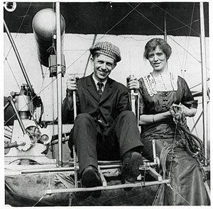 Rodman Law - Frederick Rodman Law and Ruth B. Law in their Wright Model B flyer circa 1910-1915
