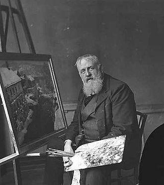 Frits Thaulow - Frits Thaulow at work painting.