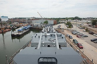 Fore River Shipyard - On the bridge of USS Salem, looking over the former yard in 2010