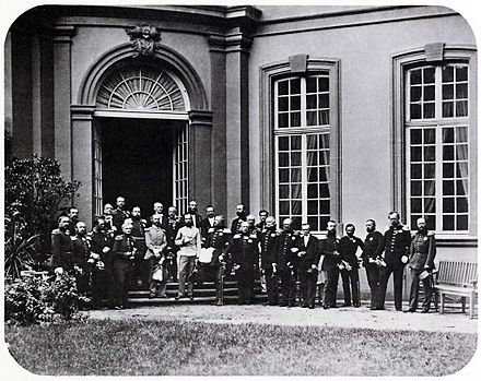 Emperor Franz Joseph (centre in white uniform) at the Congress of German princes in Frankfurt am Main, 1863 Fuerstentag Frankfurt 1863 263-022.jpg