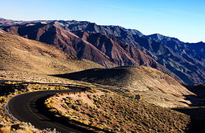 Funeral Mountains - The winding road from Dante's View descends into the Funeral Mountains, Death Valley National Park.