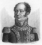 Black-and-white print of a man with a cleft chin and curly hair except for the large bald spot on top. He wears a dark uniform with a high collar, epaulettes, and a lot of braid.