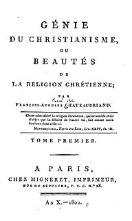 <i>The Genius of Christianity</i> 1802 book by Chateaubriand