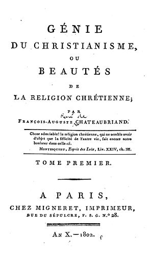 The Genius of Christianity - Title page of the 1802 edition
