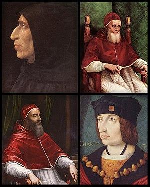 Timeline of Niccolò Machiavelli - Girolamo Savonarola, Pope Julius II, Pope Clement VII and Charles VIII of France.