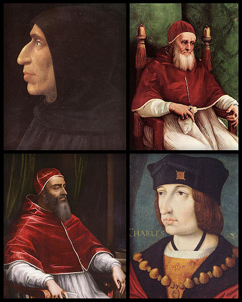 File:G. Savonarola, Pope Julius II, Pope Clement VII and King Charles VIII.jpg