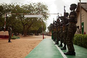 Gambia Armed Forces - Gambian soldiers practicing drill, July 2011.