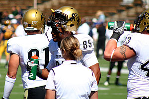 Players of the Colorado State University footb...