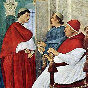 Pope Julius II - Giulliano della Rovere, as cardinal (left), with uncle and patron Francesco della Rovere, Pope Sixtus IV (right)