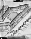 gedeelte van de vogelvluchttekening van de gebouwen van het (voormalig) weeshuis en het voormalige oudemannenhuis (door b.f. van berckenrode, 1631 - tekening i.b.v. gemeente archief amsterdam) - amsterdam - 20014075 - rce
